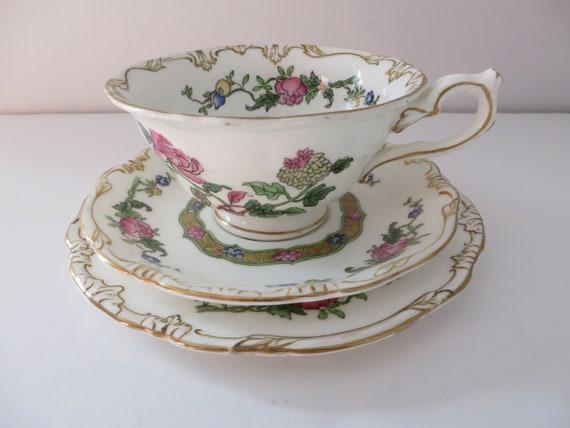 Antique Crescent ware 1890's floral  tea trio