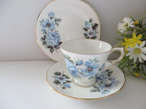 Queen Anne 1950's vintage Blue Roses tea trio