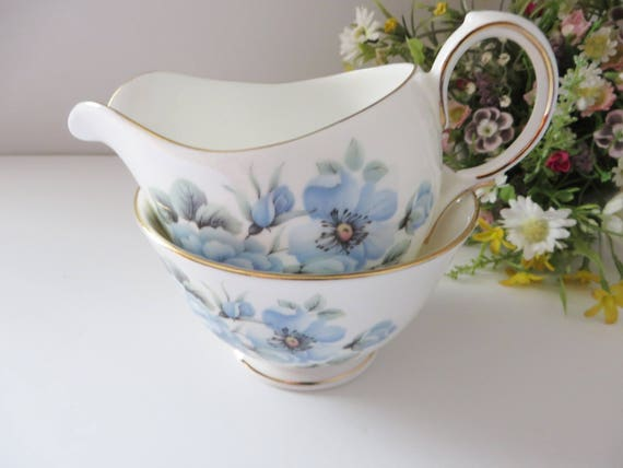 Queen Anne 1950's vintage blue floral creamer set,