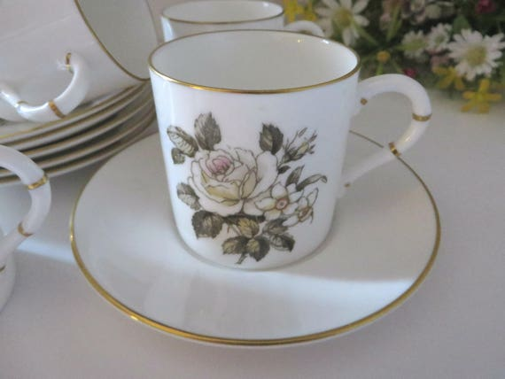 Royal Worcester vintage 1960's White Rose and Narcissus coffee cup and saucer