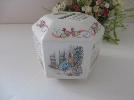 Beatrix Potter vintage  Peter Rabbit Christening money box