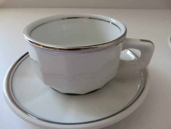 Apilco vintage coffee 1980's white and platinum cup and saucer