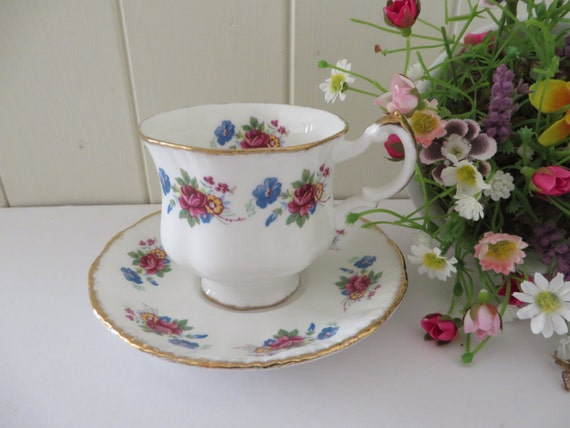 Paragon vintage 1960's pink rose coffee cup and saucer