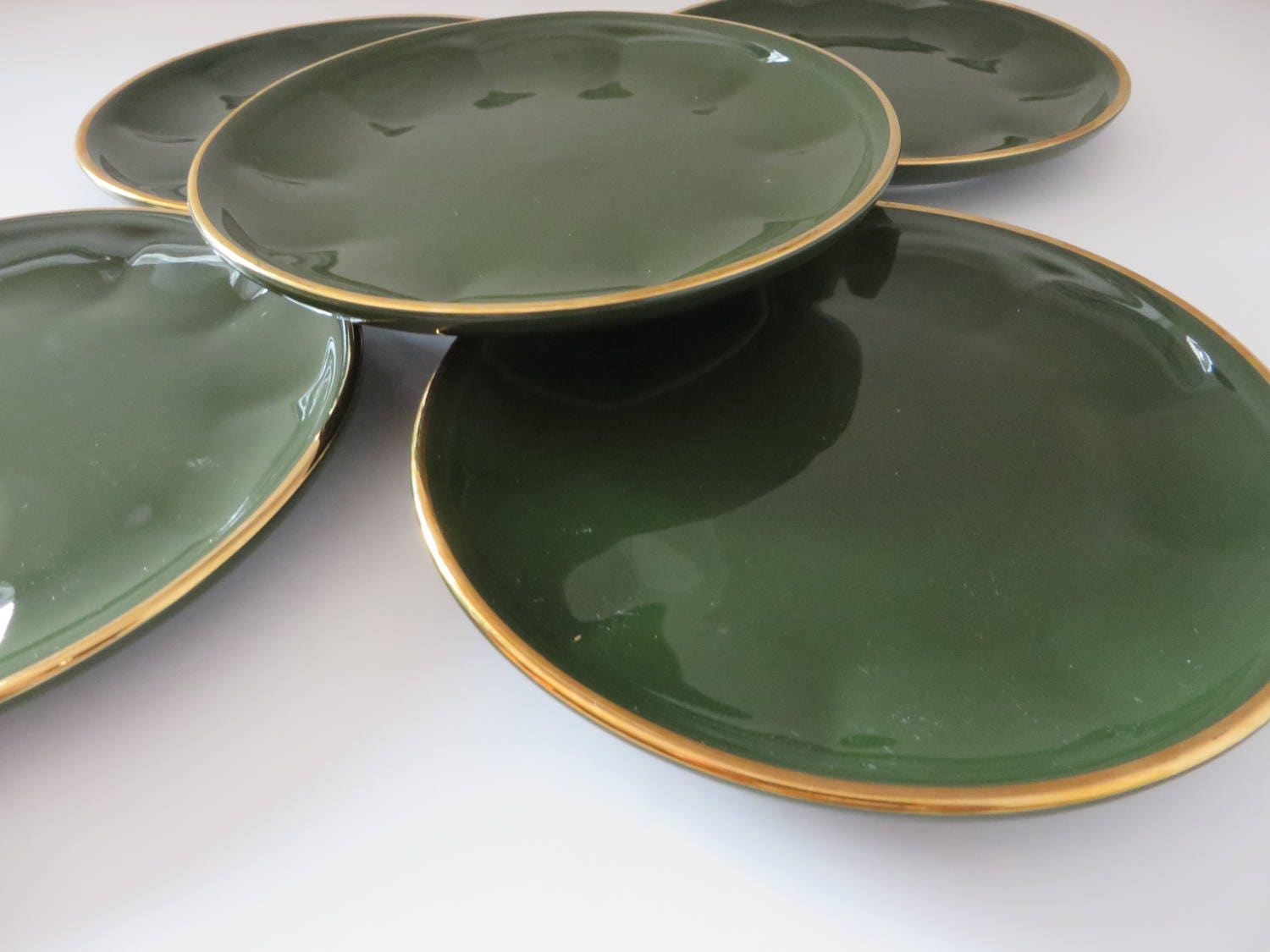 Apilco Yves Deshoulieres vintage 1980\'s green and gold tea plate