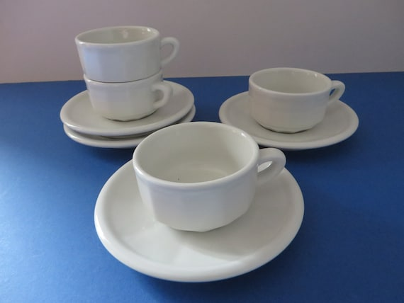 Apilco vintage 1980's white espresso cup and saucer