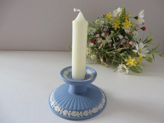 Wedgwood Jasperware vintage 1980's pale  blue candle holder