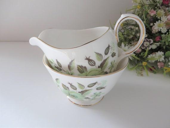 Colclough vintage 1960's green floral creamer set