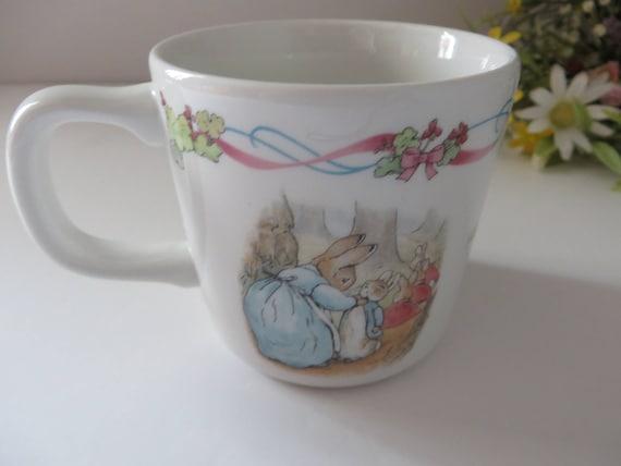 Beatrix Potter vintage 1990's Peter Rabbit christening mug
