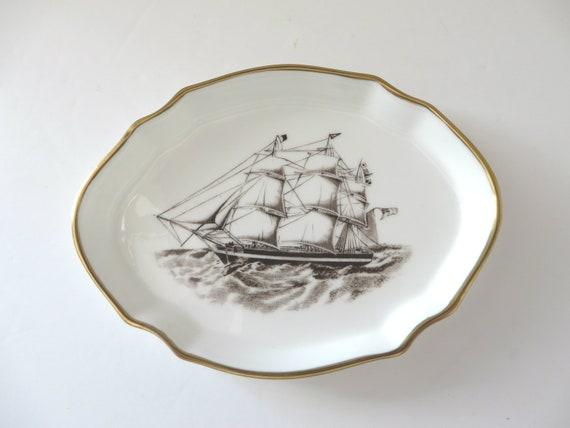 Hammersley 1960's vintage Tigris Ship 1836 pin dish