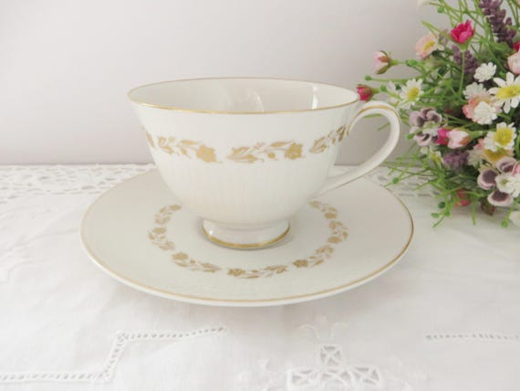Royal Doulton vintage 1970's white and gold teacup and saucer,
