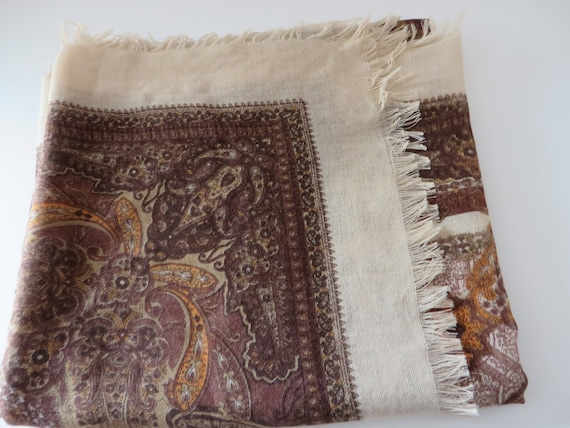 Vintage brown, burnt orange and cream scarf