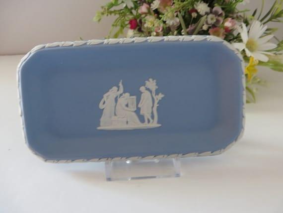 Wedgwood Jasperware vintage 1970's oblong blue trinket dish