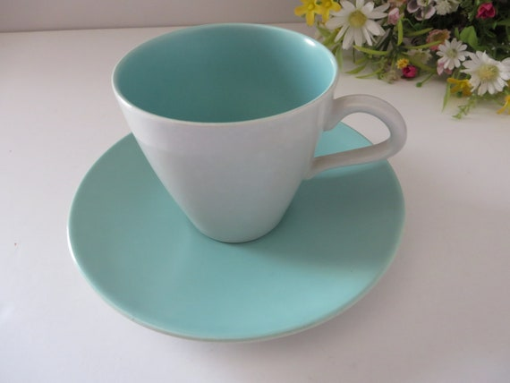 Poole Pottery vintage 1960's Sky blue and Dove grey teacup and saucer