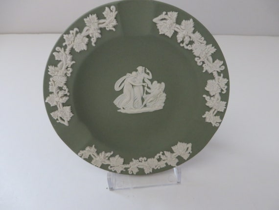 Wedgwood Jasperware vintage 1970's Sage green ashtray