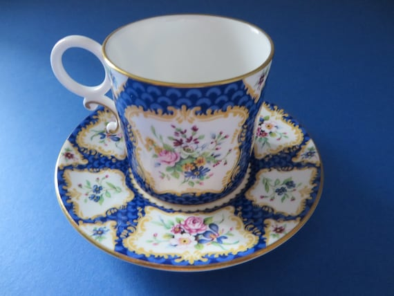 Worcester vintage 1990's Scale Blue coffee cup and saucer