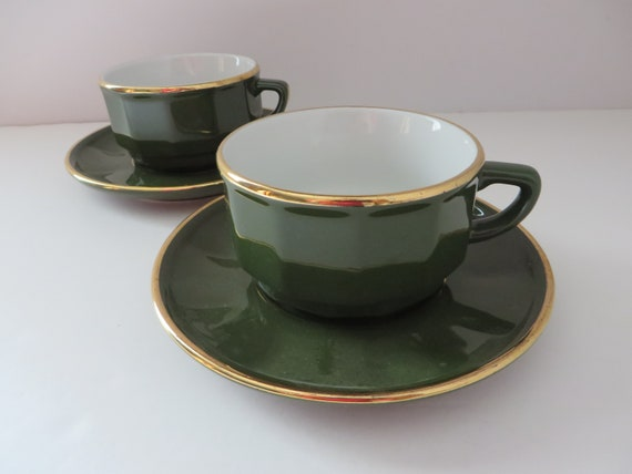 Apilco Yves Deshoulieres vintage 1980's green and gold breakfast cup and saucer