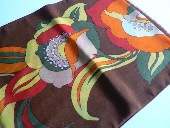 Vintage 1990's Yellow, red, orange and green  long scarf