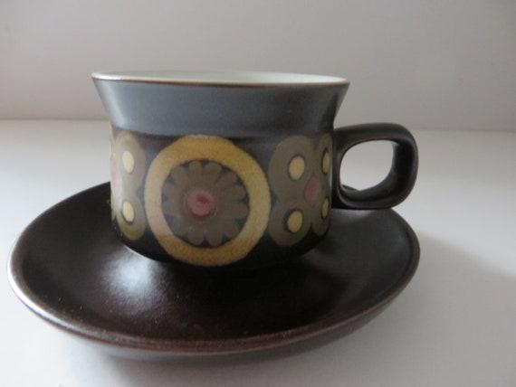 Denbyware vintage 1970's Arabesque teacup and saucer