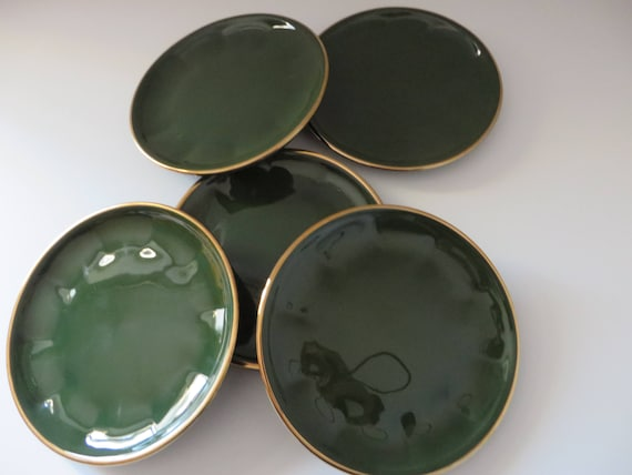 Apilco vintage 1980\'s green and gold tea plate   Etsy