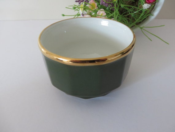 Apilco vintage 1980's green and gold small sugar bowl