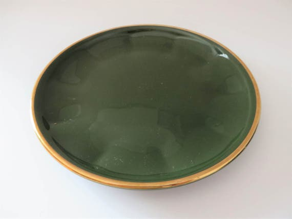 Apilco Yves Deshoulieres vintage 1980\'s green and gold   Etsy