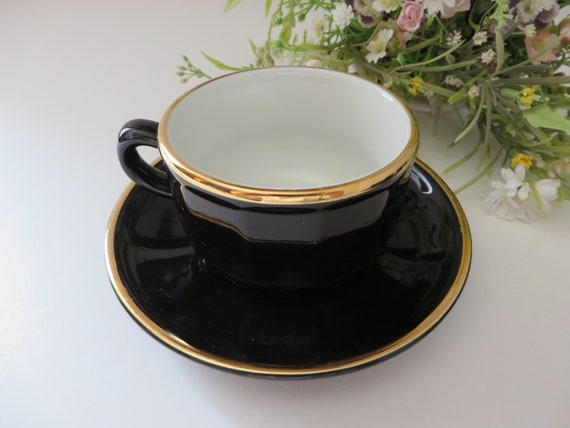 Apilco 1980's black and gold coffee cup and saucer