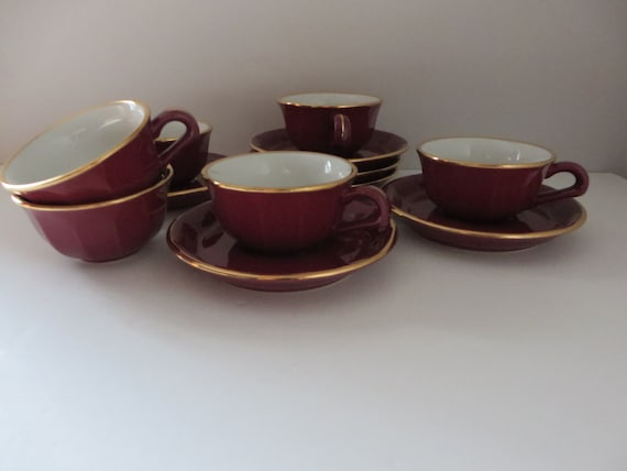 Delaunay French vintage 1990's Burgundy coffee cup and saucer