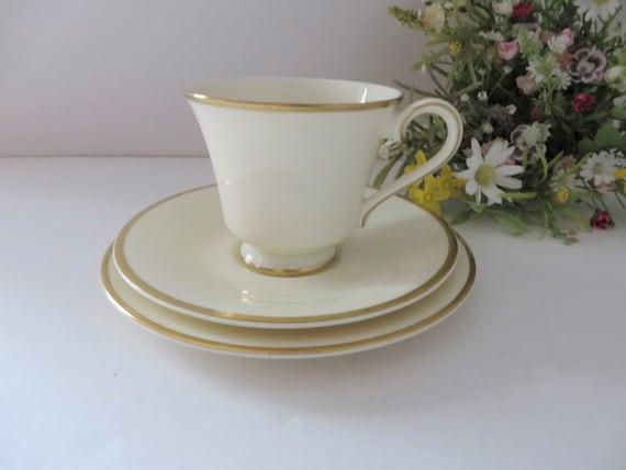 Royal Doulton vintage 1980's white and gold Heather tea trio