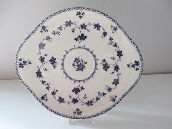 Royal Doulton 1960's vintage blue floral cake plate