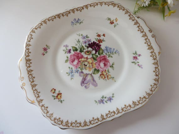 Crown Staffordshire 1970's vintage Englands Bouquet cake plate