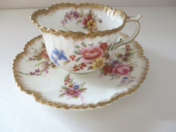 Hammersley  1930's pink floral coffee cup and saucer