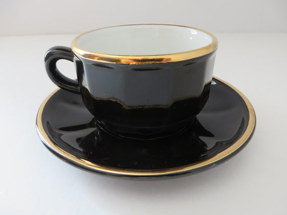 Apilco vintage 1980's black and gold coffee cup and saucer