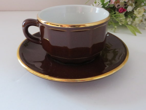 Apilco french vintage 1980's brown and gold coffee cup and saucer