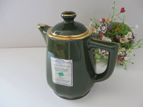 Apilco medium french  green vintage coffee pot