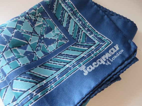 Jacqmar vintage 1980's blue and green scarf