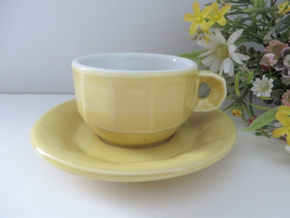 Pillivuyt vintage 1980's yellow coffee cup and saucer