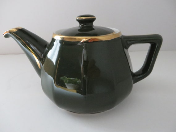 Apilco vintage 1980's large green and gold teapot