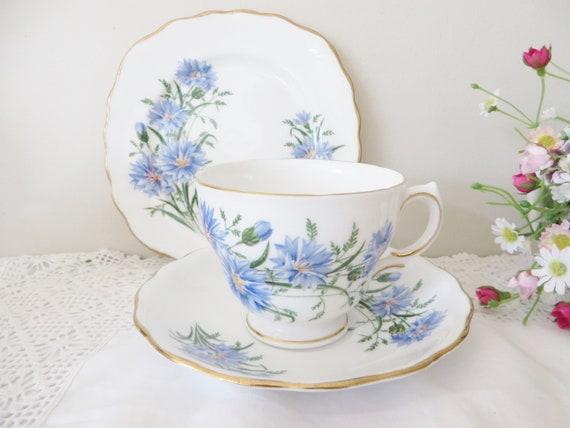 Royal Vale vintage 1970's blue floral tea trio