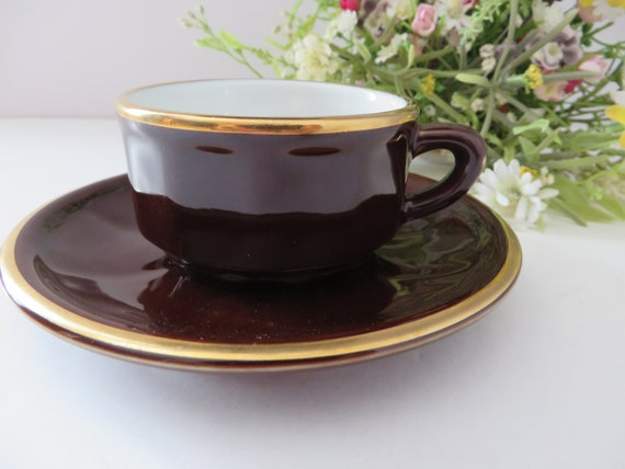 Apilco vintage 1980's brown and gold espresso cup and saucer