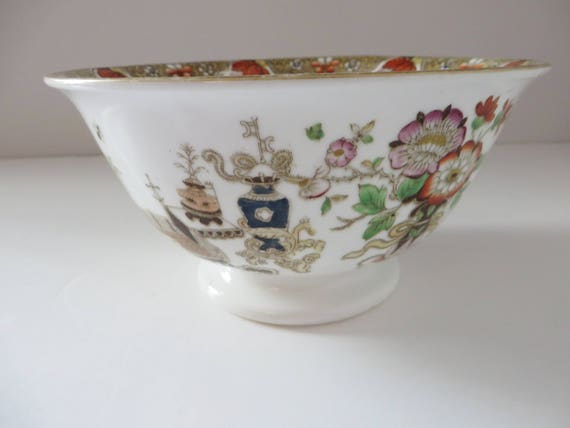 Antique Oriental 1900's floral footed bowl
