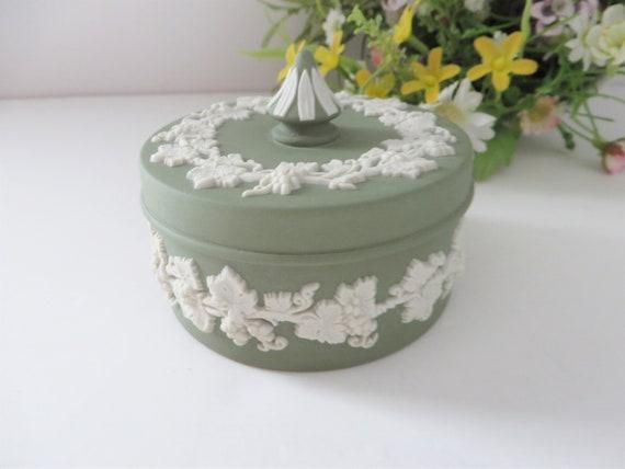 Wedgwood Jasperware Sage green vintage 1970's trinket box