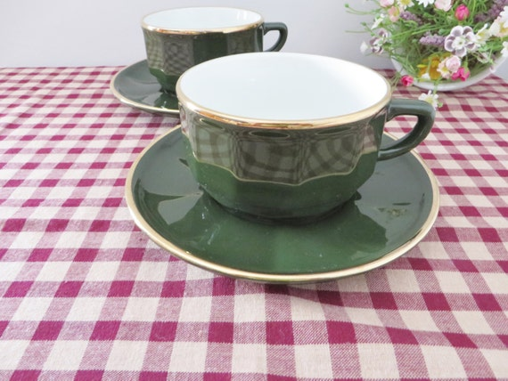 Apilco breakfast vintage 1980's green and gold coffee cup and saucer