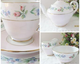 Adderley vintage tea set for two, Pink teaset, Pink floral teacup, Pink teapot, Pink creamer set