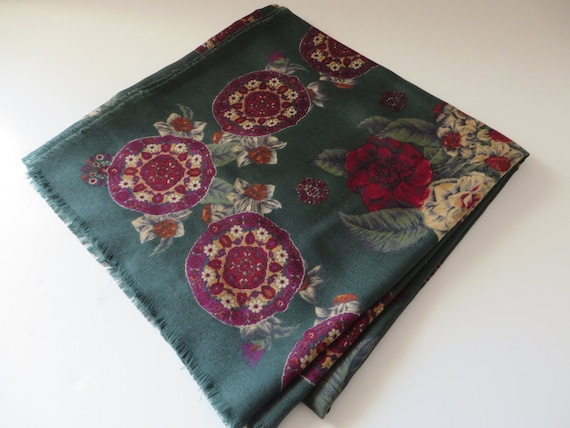 Vintage 1990's green and plum floral scarf