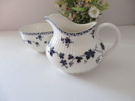 Royal Doulton 1960's vintage blue floral creamer set