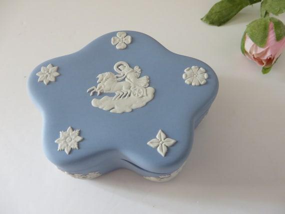 Wedgwood Jaspetware 1970's vintage pale blue trinket box