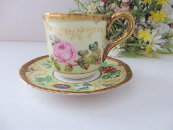 Royal Worcester vintage 1990's Samuel Astles English flowers coffee cup and saucer