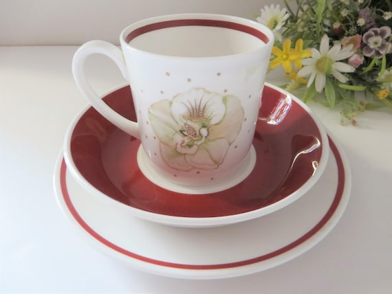 Susie Cooper Orchid and Maroon vintage 1960's coffee trio