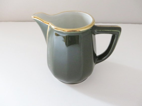 Apilco 4 inch 1980's green and gold milk jug