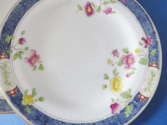 Cauldon vintage set of four blue floral tea plates